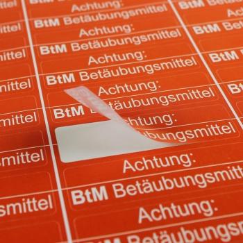 Bogen mit 36 Aufkleber zur Kennzeichnung von BTM Betäubungsmittel