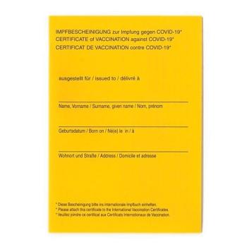Impfbescheinigung zur Impfung gegen COVID-19 50 Sück
